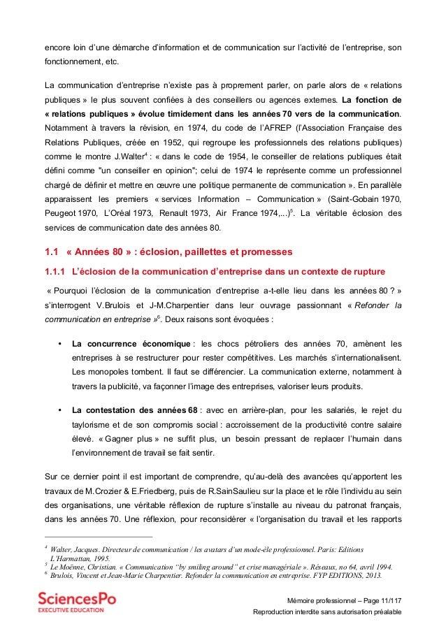 Mémoire professionnel – Page 11/117 Reproduction interdite sans autorisation préalable encore loin d'une démarche d'inform...