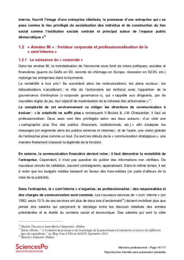 Mémoire professionnel – Page 14/117 Reproduction interdite sans autorisation préalable interne, fournit l'image d'une entr...