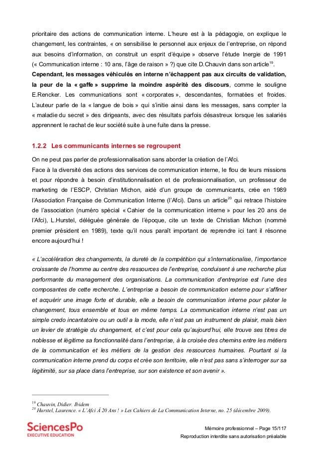 Mémoire professionnel – Page 15/117 Reproduction interdite sans autorisation préalable prioritaire des actions de communic...