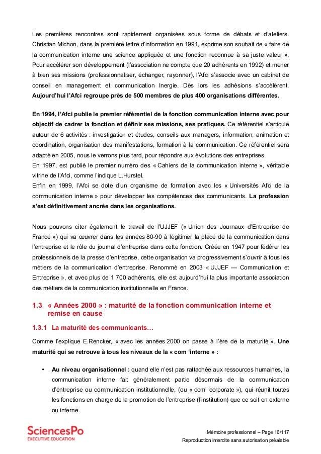 Mémoire professionnel – Page 16/117 Reproduction interdite sans autorisation préalable Les premières rencontres sont rapid...