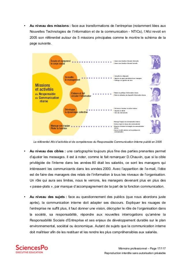 Mémoire professionnel – Page 17/117 Reproduction interdite sans autorisation préalable • Au niveau des missions : face aux...