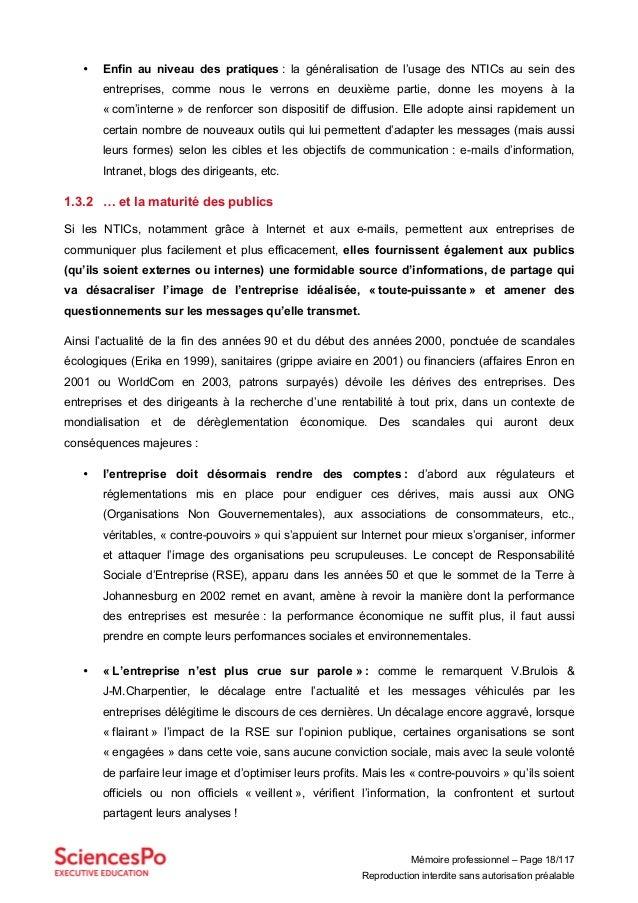 Mémoire professionnel – Page 18/117 Reproduction interdite sans autorisation préalable • Enfin au niveau des pratiques : l...