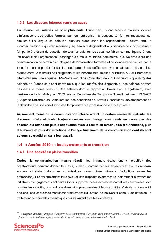 Mémoire professionnel – Page 19/117 Reproduction interdite sans autorisation préalable 1.3.3 Les discours internes remis e...