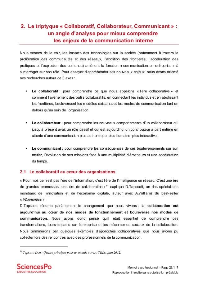 Mémoire professionnel – Page 23/117 Reproduction interdite sans autorisation préalable 2. Le triptyque « Collaboratif, Col...