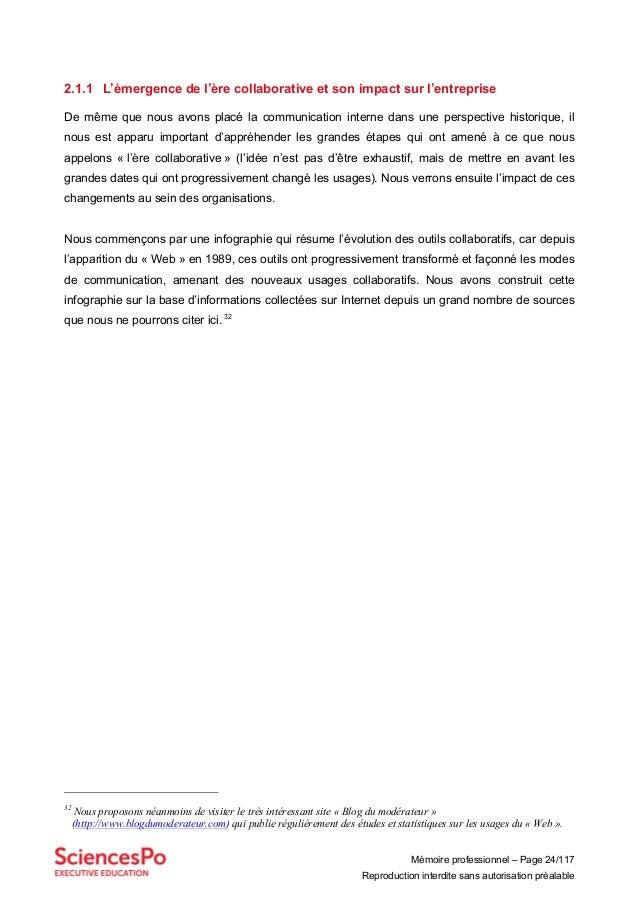Mémoire professionnel – Page 24/117 Reproduction interdite sans autorisation préalable 2.1.1 L'émergence de l'ère collabor...