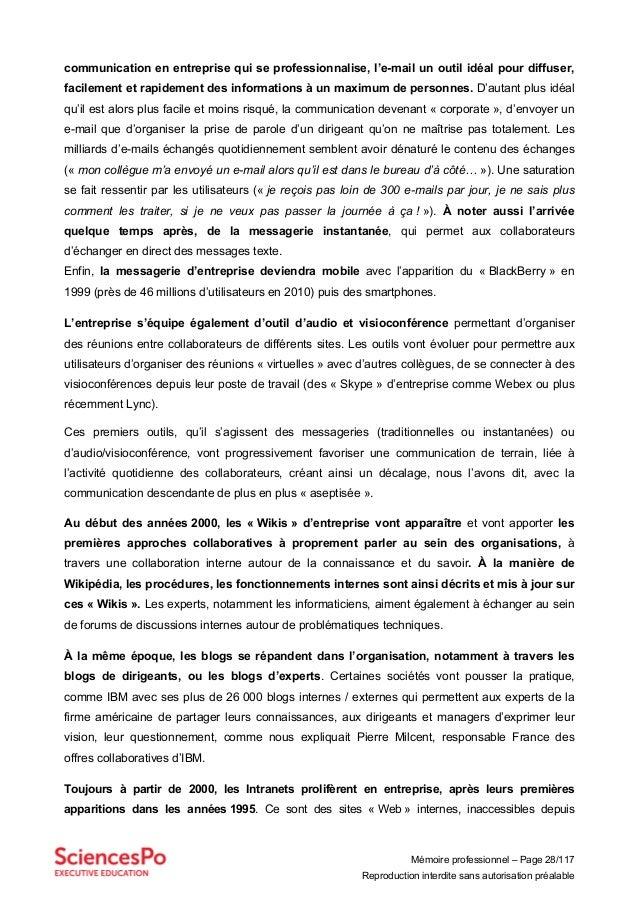 Mémoire professionnel – Page 28/117 Reproduction interdite sans autorisation préalable communication en entreprise qui se ...