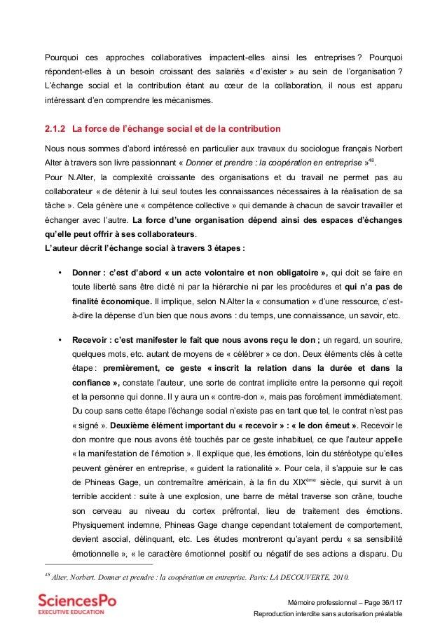 Mémoire professionnel – Page 36/117 Reproduction interdite sans autorisation préalable Pourquoi ces approches collaborativ...