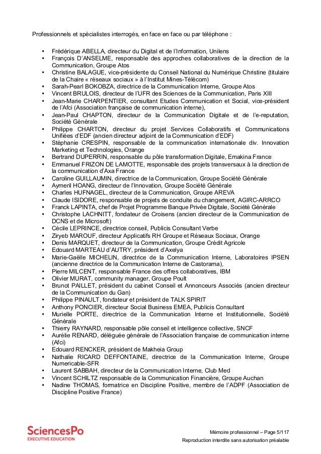 Mémoire professionnel – Page 5/117 Reproduction interdite sans autorisation préalable Professionnels et spécialistes inter...