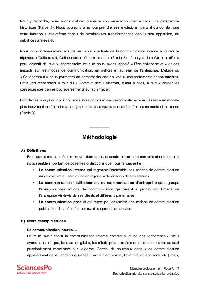 Mémoire professionnel – Page 7/117 Reproduction interdite sans autorisation préalable Pour y répondre, nous allons d'abord...