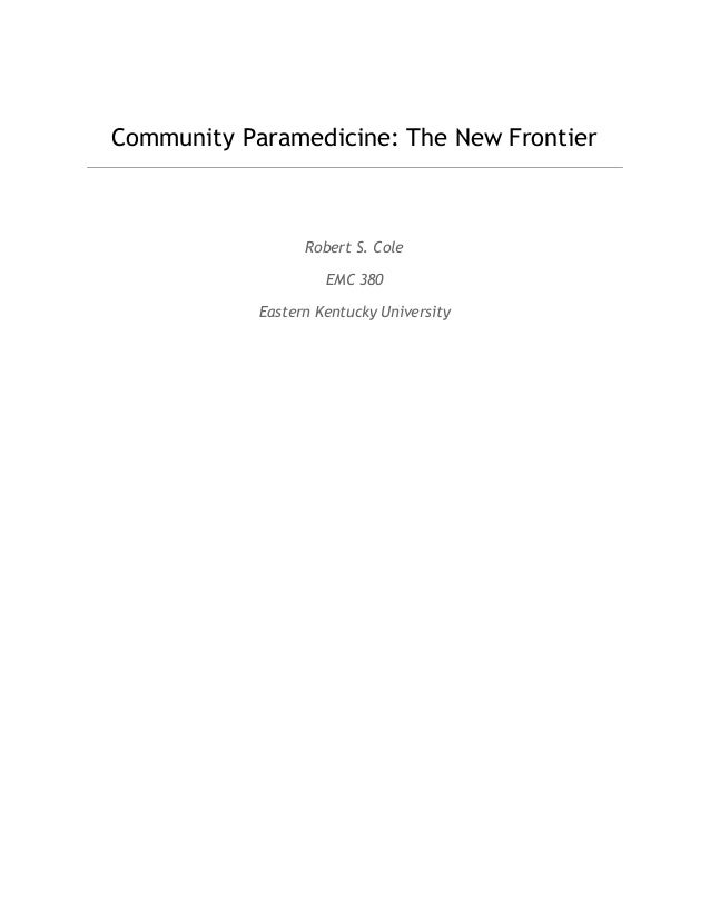 essay on community paramedicine