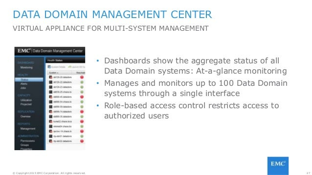27© Copyright 2015 EMC Corporation. All rights reserved. DATA DOMAIN MANAGEMENT CENTER VIRTUAL APPLIANCE FOR MULTI-SYSTEM ...