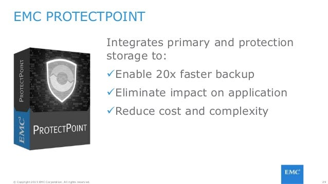 29© Copyright 2015 EMC Corporation. All rights reserved. EMC PROTECTPOINT Integrates primary and protection storage to: E...