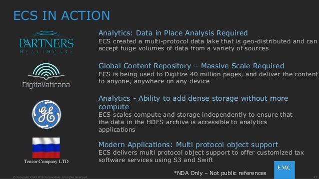 27© Copyright 2015 EMC Corporation. All rights reserved. ECS IN ACTION Analytics: Data in Place Analysis Required ECS crea...