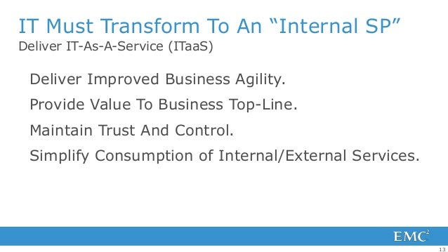 """IT Must Transform To An """"Internal SP""""Deliver IT-As-A-Service (ITaaS) Deliver Improved Business Agility. Provide Value To B..."""