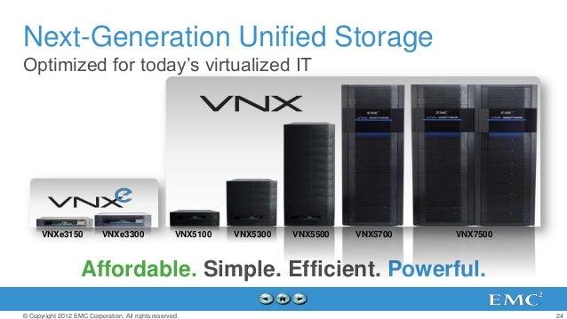 Next-Generation Unified StorageOptimized for today's virtualized IT      VNXe3150             VNXe3300                 VNX...