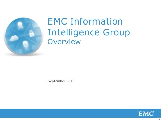 1 EMC Information Intelligence Group Overview September 2013