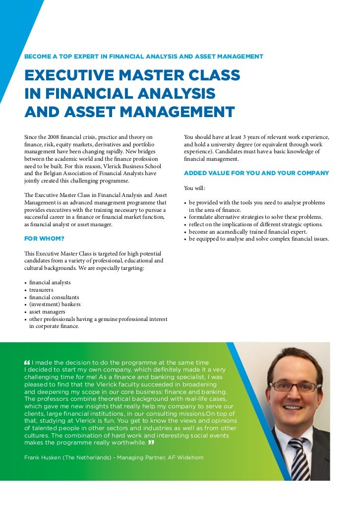 Become a top expert in Financial Analysis and Asset ManagementExecutive Master Classin Financial Analysisand Asset Managem...