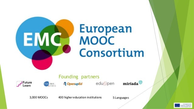 Founding partners 3,000 MOOCs 400 higher education institutions 5 Languages
