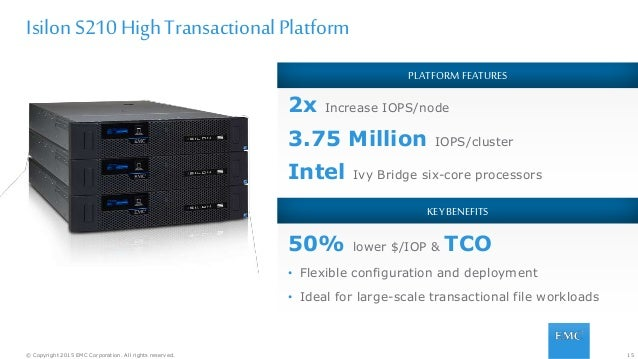15© Copyright 2015 EMC Corporation. All rights reserved. PLATFORM FEATURES 2x Increase IOPS/node 3.75 Million IOPS/cluster...
