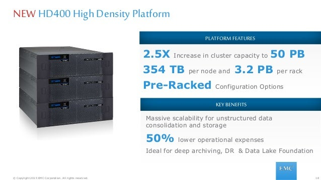 18© Copyright 2015 EMC Corporation. All rights reserved. PLATFORM FEATURES 2.5X Increase in cluster capacity to 50 PB 354 ...