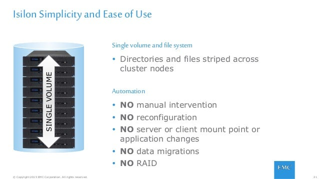 21© Copyright 2015 EMC Corporation. All rights reserved. Isilon Simplicity and Ease of Use Singlevolume andfile system  D...