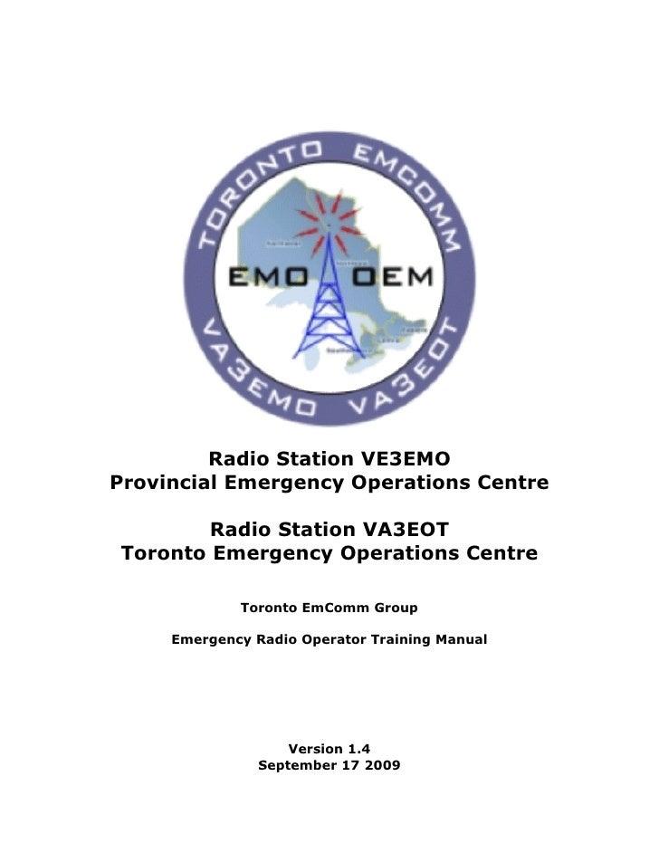 Radio Station VE3EMO Provincial Emergency Operations Centre          Radio Station VA3EOT Toronto Emergency Operations Cen...