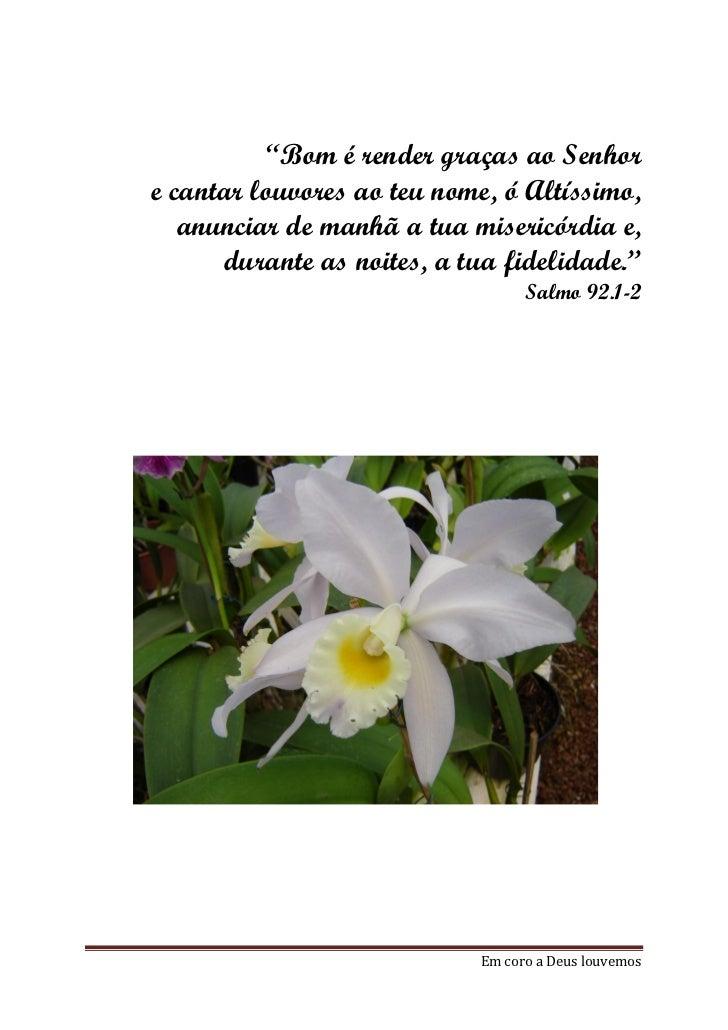 """""""Bom é render graças ao Senhore cantar louvores ao teu nome, ó Altíssimo,   anunciar de manhã a tua misericórdia e,      d..."""