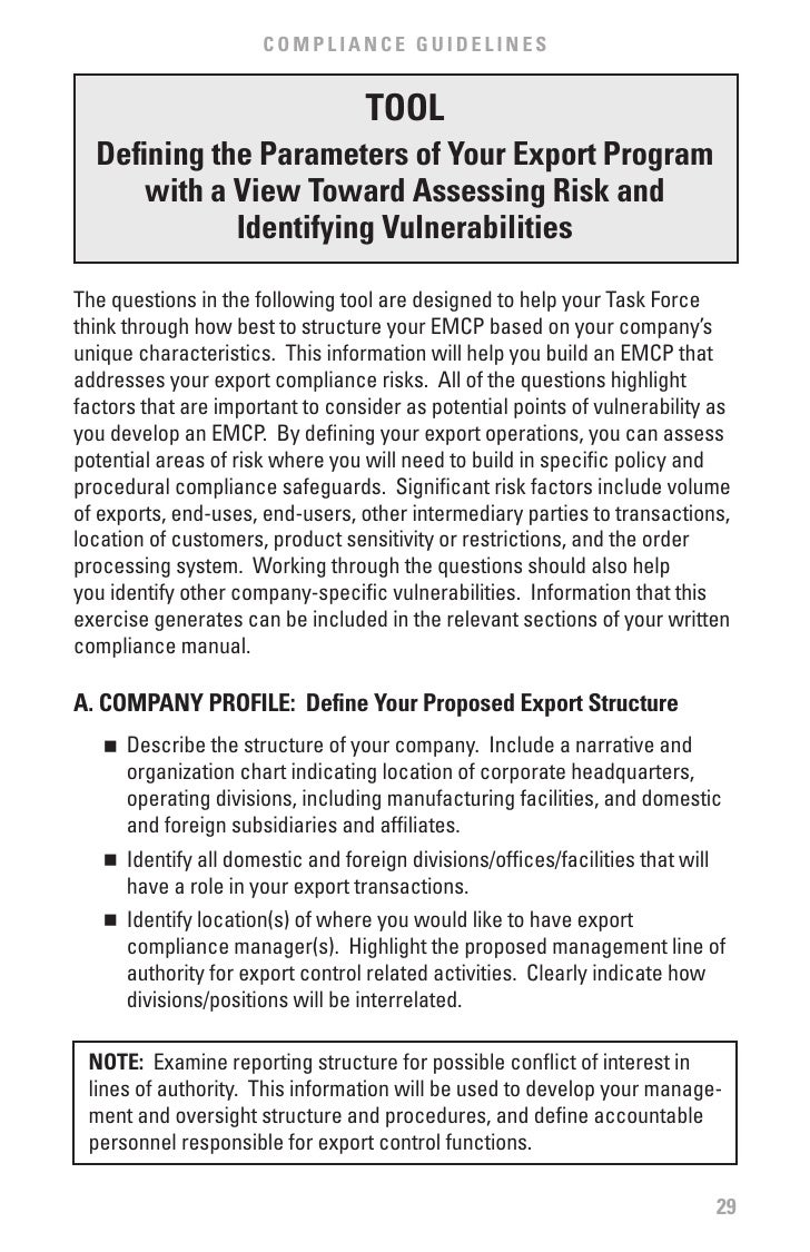 free export compliance manual template