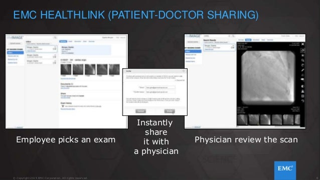 8© Copyright 2015 EMC Corporation. All rights reserved. Physician review the scan EMC HEALTHLINK (PATIENT-DOCTOR SHARING) ...