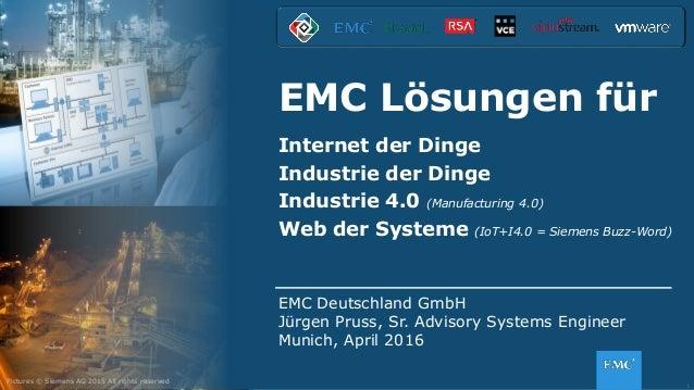 1© Copyright 2016 EMC Corporation. All rights reserved. EMC Lösungen für Internet der Dinge Industrie der Dinge Industrie ...