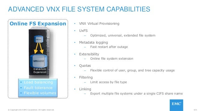 103© Copyright 2015 EMC Corporation. All rights reserved. Online FS Expansion • VNX Virtual Provisioning • UxFS – Optimize...