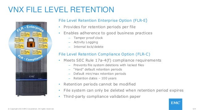 124© Copyright 2015 EMC Corporation. All rights reserved. File Level Retention Enterprise Option (FLR-E) • Provides for re...
