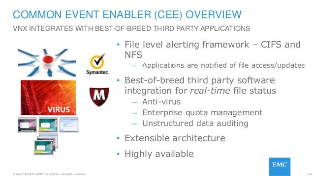 126© Copyright 2015 EMC Corporation. All rights reserved. • File level alerting framework – CIFS and NFS – Applications ar...