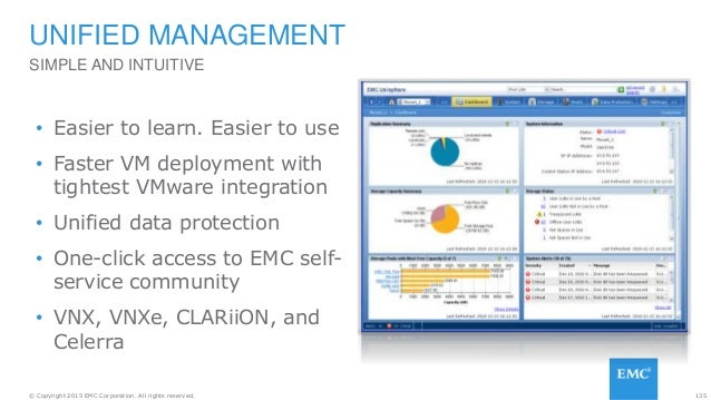 135© Copyright 2015 EMC Corporation. All rights reserved. SIMPLE AND INTUITIVE UNIFIED MANAGEMENT • Easier to learn. Easie...