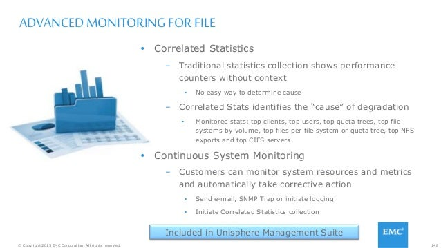 148© Copyright 2015 EMC Corporation. All rights reserved. ADVANCED MONITORING FOR FILE  Correlated Statistics – Tradition...