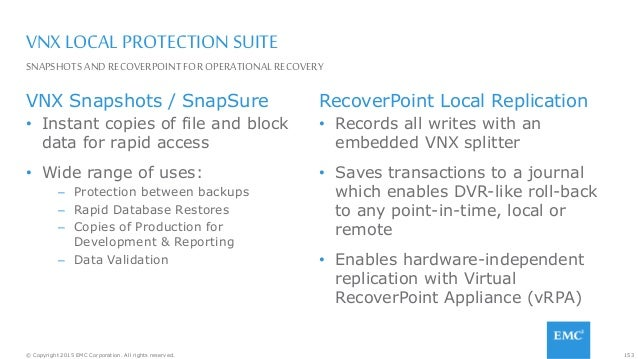 153© Copyright 2015 EMC Corporation. All rights reserved. VNX LOCAL PROTECTION SUITE VNX Snapshots / SnapSure • Instant co...