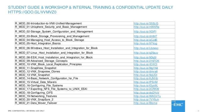 2EMC CONFIDENTIAL—INTERNAL USE ONLYEMC CONFIDENTIAL—INTERNAL USE ONLY R_MOD_00-Introduction-to-VNX-Unified-Management http...