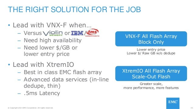 33© Copyright 2015 EMC Corporation. All rights reserved. • Lead with VNX-F when… – Versus or – Need high availability – Ne...