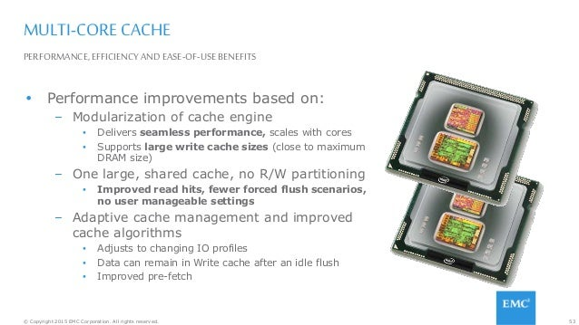 53© Copyright 2015 EMC Corporation. All rights reserved. PERFORMANCE, EFFICIENCY AND EASE-OF-USE BENEFITS MULTI-CORE CACHE...