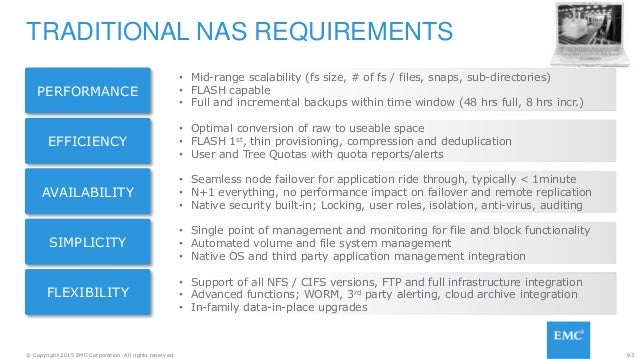 93© Copyright 2015 EMC Corporation. All rights reserved. TRADITIONAL NAS REQUIREMENTS • Mid-range scalability (fs size, # ...