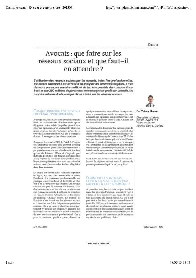 Dalloz Avocats - Exercer et entreprendre - 201303                    http://pvsamplersla6.immanens.com/fr/pvPrintWLI.asp?s...