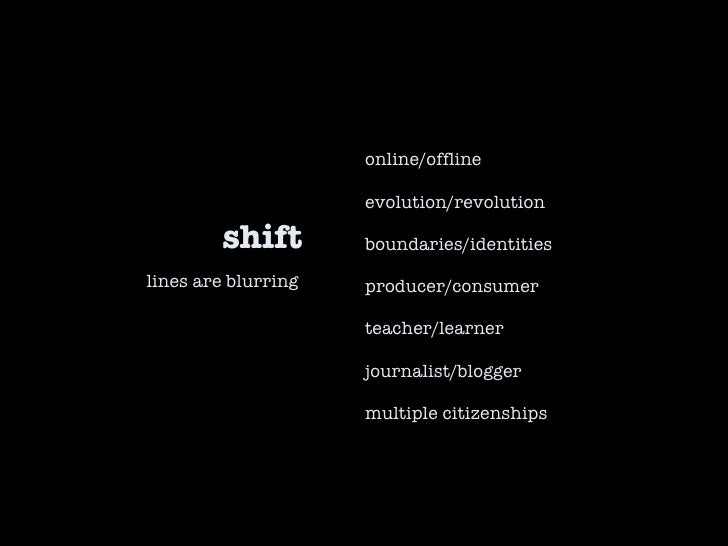 shift online/offline evolution/revolution boundaries/identities producer/consumer teacher/learner journalist/blogger multi...