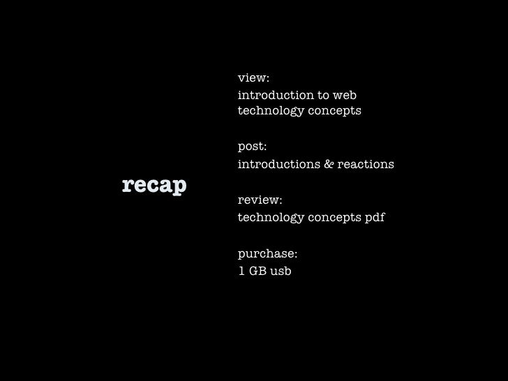 recap view:  introduction to web technology concepts post: introductions & reactions review: technology concepts pdf purch...