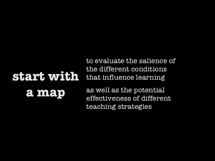 start with a map to evaluate the salience of the different conditions that influence learning  as well as the potential ef...