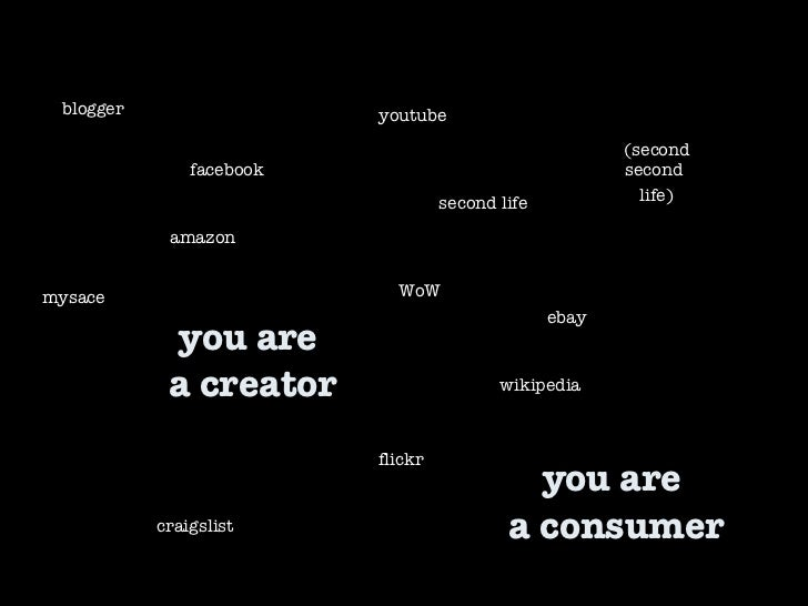 you are  a creator second life WoW facebook youtube craigslist flickr mysace (second second  life) wikipedia blogger ebay ...