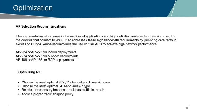 EMEA Airheads – Aruba controller features used to optimize performance