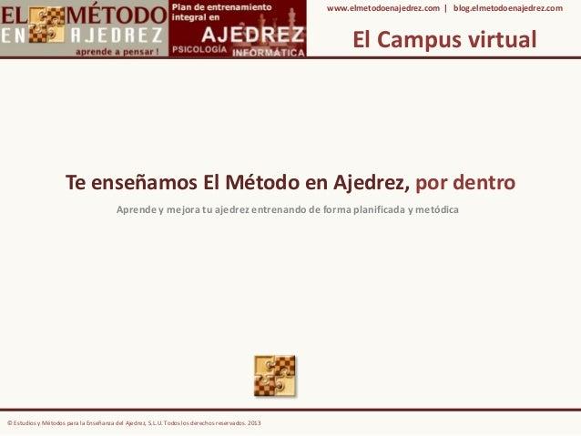 El Campus virtual Te enseñamos El Método en Ajedrez, por dentro Aprende y mejora tu ajedrez entrenando de forma planificad...