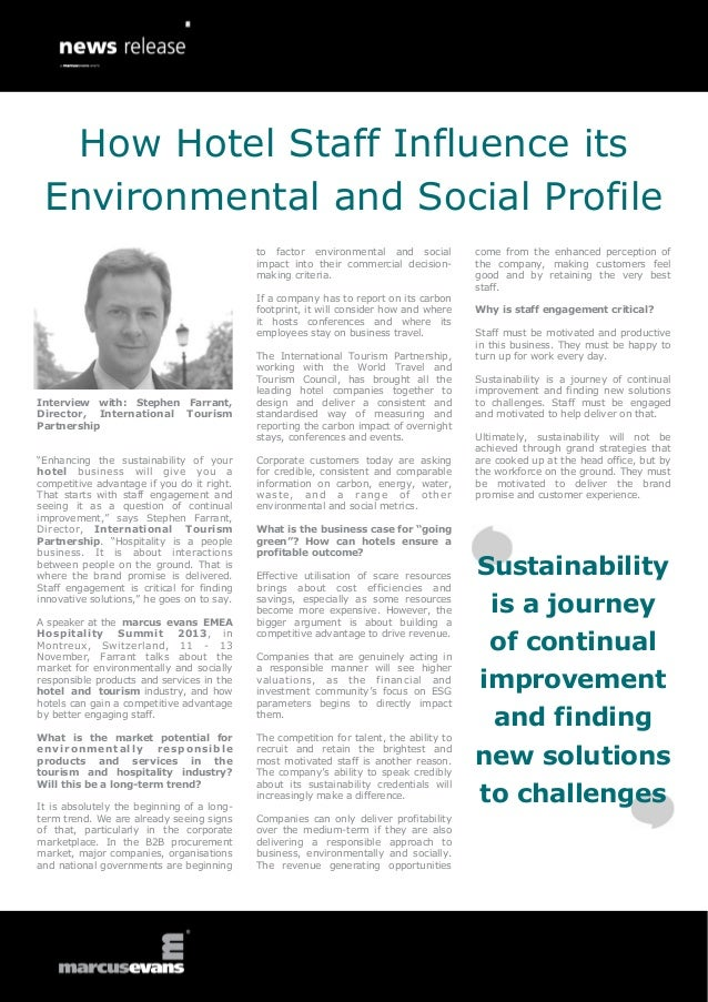 """Interview with: Stephen Farrant, Director, International Tourism Partnership """"Enhancing the sustainability of your hotel b..."""