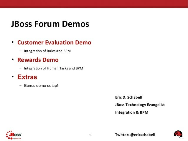JBoss Forum Demos• Customer Evaluation Demo  – Integration of Rules and BPM• Rewards Demo  – Integration of Human Tasks an...