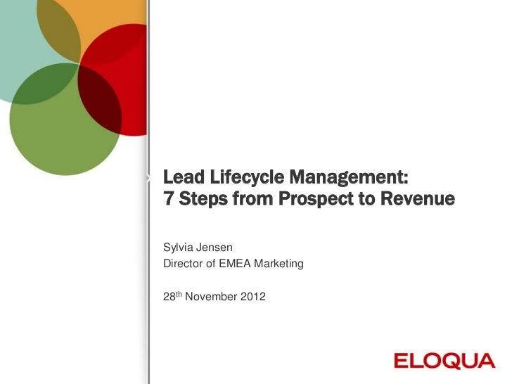Lead Lifecycle Management:    7 Steps from Prospect to Revenue    Sylvia Jensen    Director of EMEA Marketing    28th Nove...